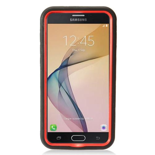 Samsung Galaxy J7 [2017]/ Galaxy J7 Perx/ J7 V/ Galaxy Halo Case, Supreme Protection Silicone Skin Case on Hard Case Dual Layer Hybrid Case w/ Kickstand [Black/ Red] with Travel Wallet Phone Stand