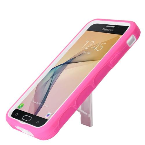 Samsung Galaxy J7 [2017]/ Galaxy J7 Perx/ J7 V/ Galaxy Halo Case, Supreme Protection Silicone Skin Case on Hard Case Dual Layer Hybrid Case w/ Kickstand [Hot Pink/ White] with Travel Wallet Phone Stand