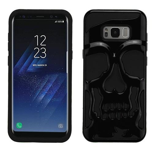 Samsung Galaxy S8 Skull Case, Hybrid Dual Layer Hard Case on Silicone Skin [Black] with Travel Wallet Phone Stand