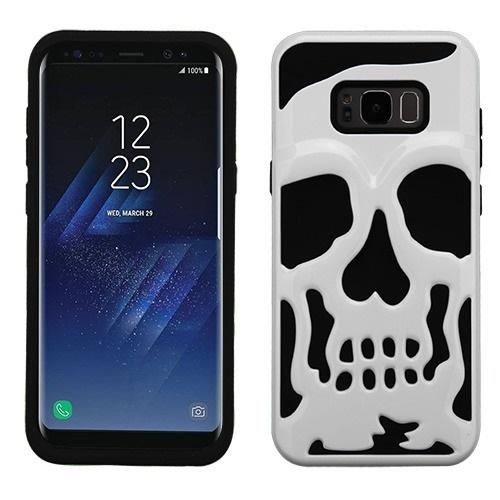 Samsung Galaxy S8 Skull Case, Hybrid Dual Layer Hard Case on Silicone Skin [White] with Travel Wallet Phone Stand