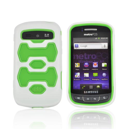 Samsung Rookie R720 Silicone Over Hard Case - Lime Green/ White