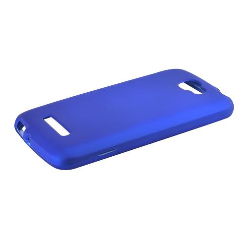 Blue Alcatel One Touch Fierce 2 Matte Rubberized Hard Case Cover; Perfect fit as Best Coolest Design Plastic cases