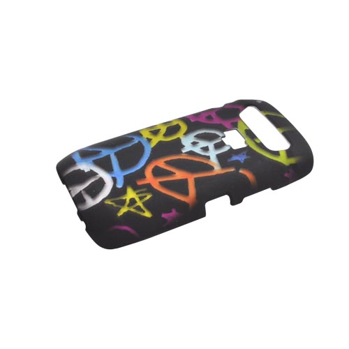 Blackberry Torch 9850 Rubberized Hard Case - Rainbow Peace Signs on Black