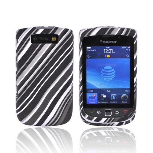 Blackberry Torch 9800 Rubberized Hard Case - Diagonal Black Lines