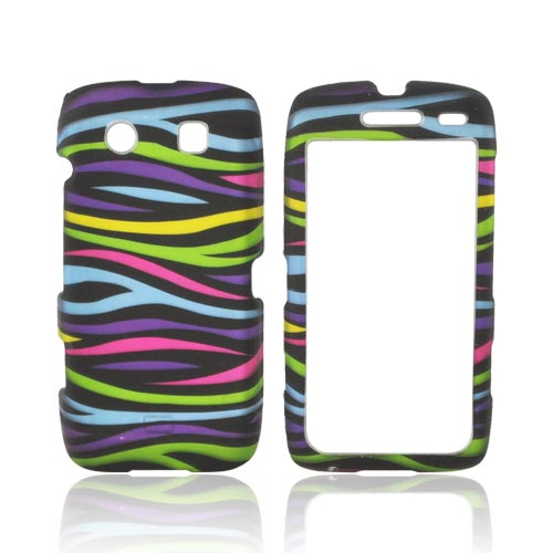 Blackberry Torch 9850 Rubberized Hard Case - Rainbow Zebra on Black