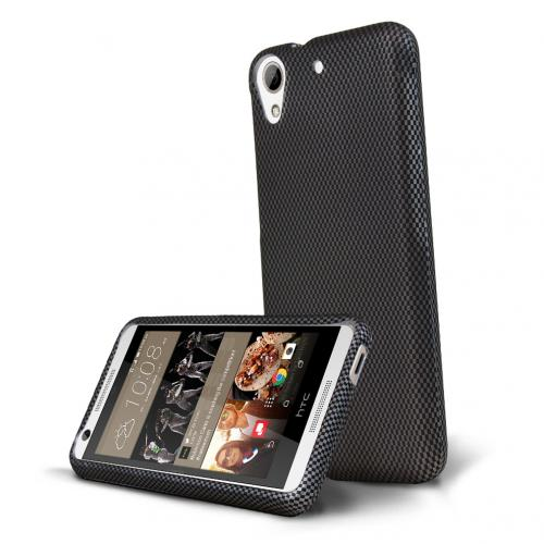 HTC Desire 626 Case, [Carbon Fiber Design] Slim & Protective Rubberized Matte Hard Plastic Case
