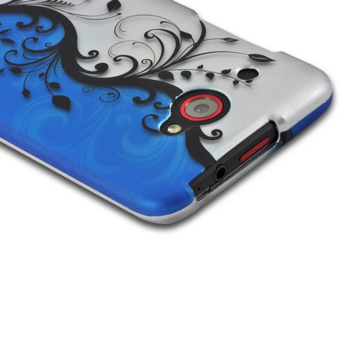 Black Vines on Blue/ Silver Rubberized Hard Case for HTC Droid DNA