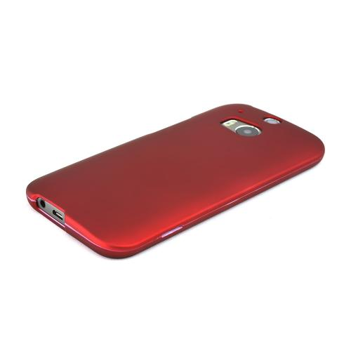 Red Rubberized Hard Case for HTC One 2