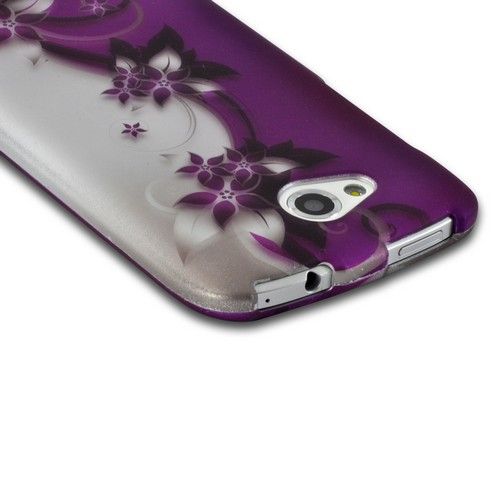 Purple Vines/ Flowers on Silver Rubberized Hard Case for HTC One VX