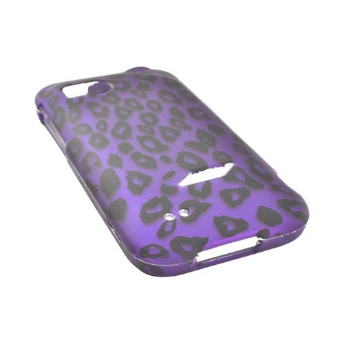 HTC Rezound Rubberized Hard Case - Purple/ Black Leopard