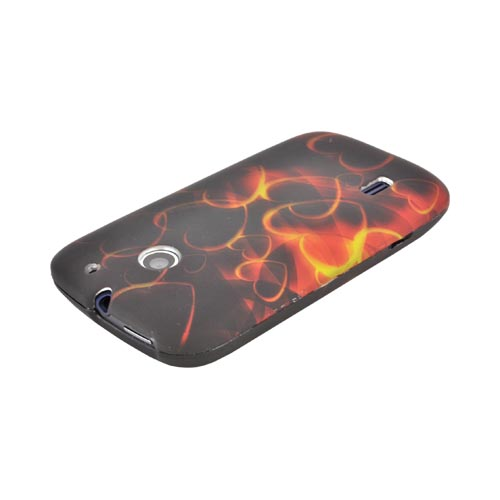 AT&T Fusion U8652 Rubberized Hard Case - Gold Hearts on Black/ Red