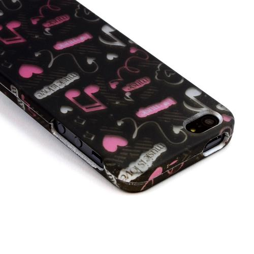 Made for Apple iPhone SE / 5 / 5S Hard Case,  [Pink Music Notes Music Is Love on Black]  Slim Protective Rubberized Matte Finish Snap-on Hard Polycarbonate Plastic Case Cover by Redshield