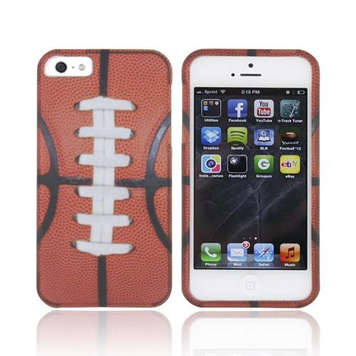 Apple iPhone SE / 5 / 5S Hard Case,  [Silver/ Brown Football]  Slim & Protective Rubberized Matte Finish Snap-on Hard Polycarbonate Plastic Case Cover