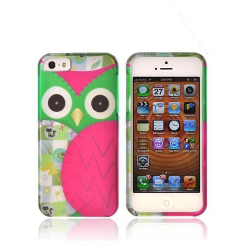 Made for Apple iPhone SE / 5 / 5S Hard Case,  [Green/ Hot Pink Owl Design]  Slim Protective Rubberized Matte Finish Snap-on Hard Polycarbonate Plastic Case Cover by Redshield