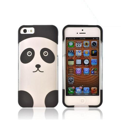 Made for Apple iPhone SE / 5 / 5S Hard Case,  [Silver/ Black Panda]  Slim Protective Rubberized Matte Finish Snap-on Hard Polycarbonate Plastic Case Cover by Redshield