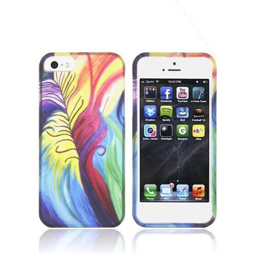 Made for Apple iPhone SE / 5 / 5S Hard Case,  [Rainbow Peacock Feathers]  Slim Protective Rubberized Matte Finish Snap-on Hard Polycarbonate Plastic Case Cover by Redshield