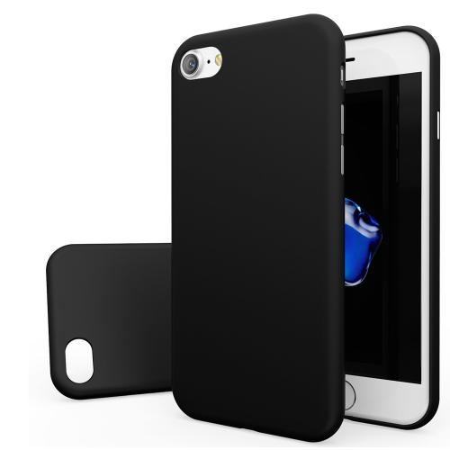 Made for Apple iPhone 8/7/6S/6 Case, Slim Protective Rubberized Matte Finish Snap-on Hard Polycarbonate Plastic Case Cover [Black] with Travel Wallet Phone Stand by Redshield