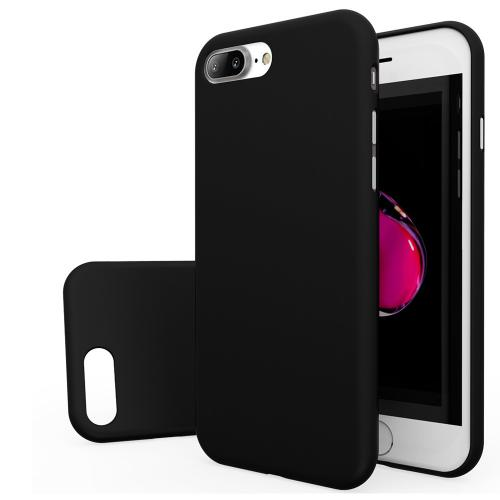 Made for Apple iPhone 8/7/6S/6 Plus Case, Slim Protective Rubberized Matte Finish Snap-on Hard Polycarbonate Plastic Case Cover [Black] with Travel Wallet Phone Stand by Redshield
