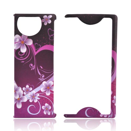 Kyocera Echo M9300 Rubberized Hard Case - Pink Heart Flowers on Black