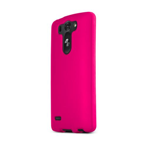 Hot Pink LG G3 Mini Matte Rubberized Hard Case Cover; Perfect fit as Best Coolest Design Plastic Cases