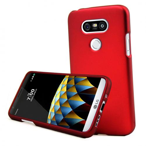 LG G5 Case, REDshield  [Red] Slim & Protective Rubberized Matte Finish Snap-on Hard Polycarbonate Plastic Case Cover with Travel Wallet Phone Stand