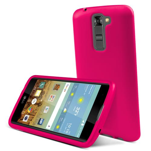LG K7/ LG Tribute 5 Case,  [Hot Pink]  Slim & Protective Rubberized Matte Finish Snap-on Hard Polycarbonate Plastic Case Cover