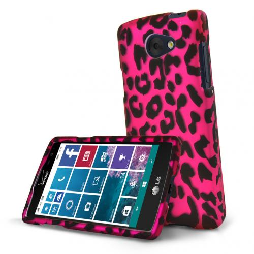 LG Lancet Case, [Hot Pink Leopard] Slim & Protective Rubberized Matte Hard Plastic Case