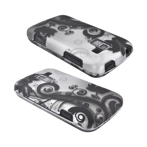 LG Enlighten VS700 Rubberized Hard Case - Black Vines & Flowers on Silver