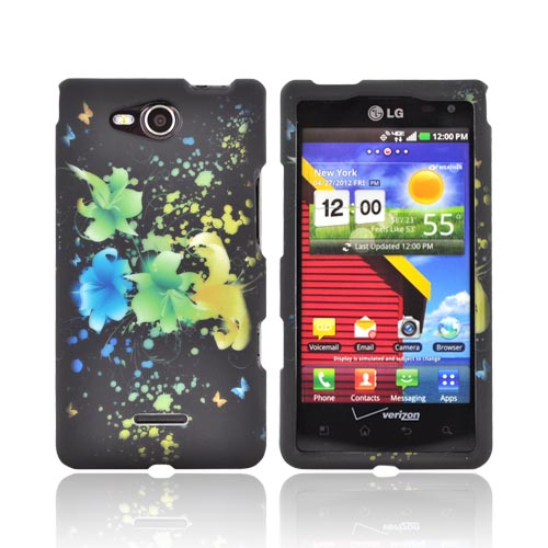 LG Lucid 4G Rubberized Hard Case - Blue/ Green/ Yellow Flowers on Black