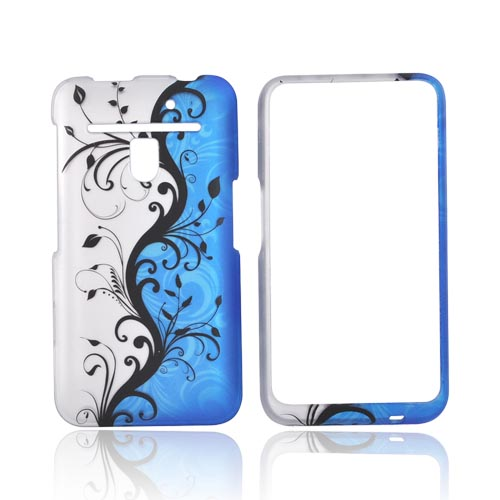 LG Revolution, LG Esteem Rubberized Hard Case - Black Vines on Blue and Silver