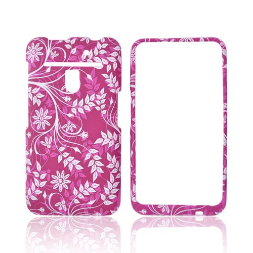 LG Revolution, LG Esteem Rubberized Hard Case - White Vines on Hot Pink