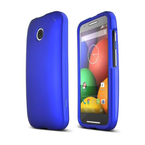 Blue Motorola Moto E Matte Rubberized Hard Case Cover; Perfect fit as Best Coolest Design Plastic cases
