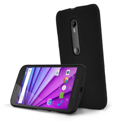 Motorola Moto G 2015 Case, [Black] Slim & Protective Rubberized Matte Hard Plastic Case