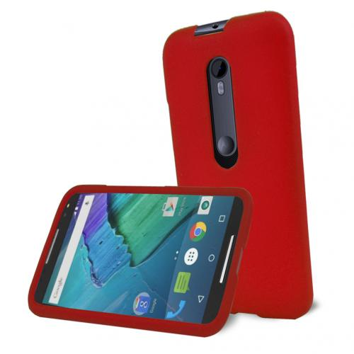 Motorola Moto G 2015 Case, [Red] Slim & Protective Rubberized Matte Hard Plastic Case
