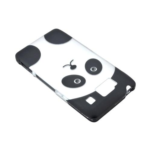 Motorola Droid RAZR HD Rubberized Hard Case - Silver/ Black Panda