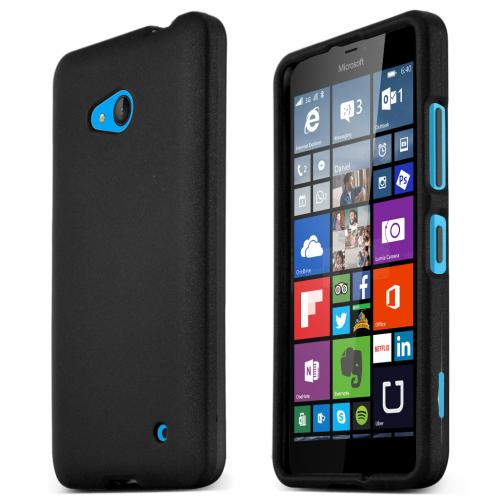 Black Slim Grip Rubberized Matte Snap-on Hard Polycarbonate Plastic Protective Case for Nokia Lumia 640