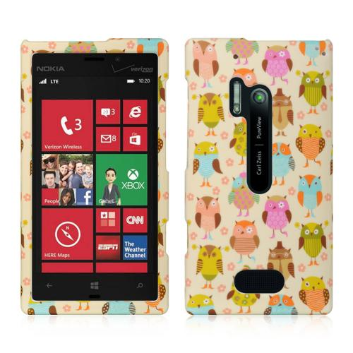 Retro Owls on Cream Rubberized Hard Case for Nokia Lumia 928