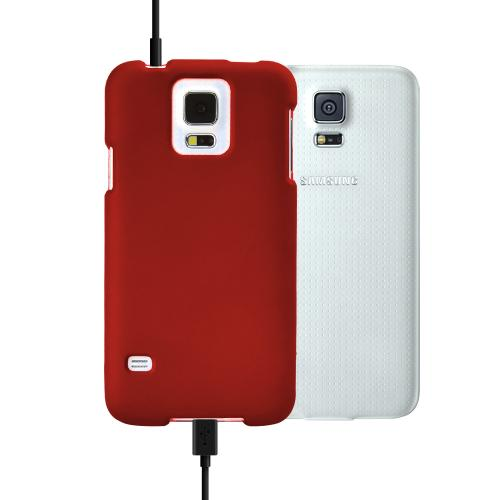 Red Rubberized Hard Plastic Case for Samsung Galaxy S5