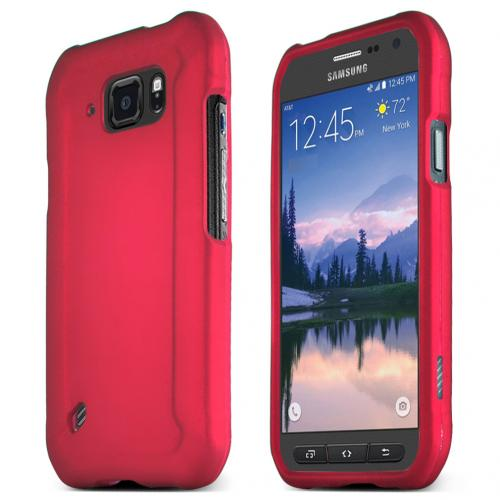 Samsung Galaxy S6 Active Case, ROSE PINK Slim Grip Rubberized Matte Snap-on Hard Polycarbonate Plastic Protective Case