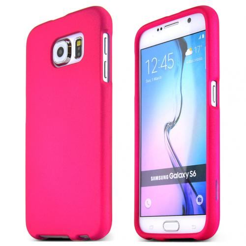 Samsung Galaxy S6 Case,  [Hot Pink]  Slim & Protective Rubberized Matte Finish Snap-on Hard Polycarbonate Plastic Case Cover