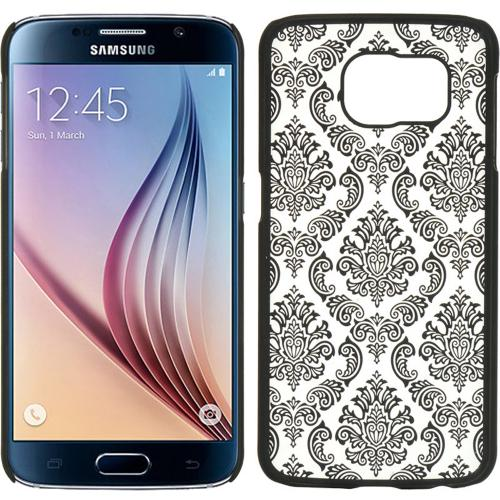 Samsung Galaxy S6 Case,  [Black Lace]  Slim & Protective Rubberized Matte Finish Snap-on Hard Polycarbonate Plastic Case Cover
