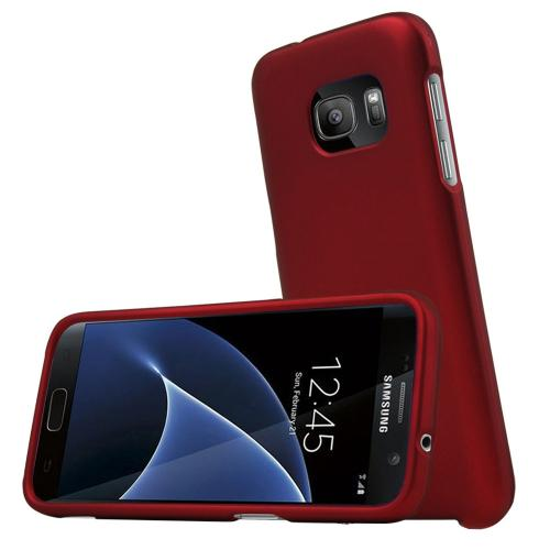 Samsung Galaxy S7 Case, REDshield  [Red] Slim & Protective Rubberized Matte Finish Snap-on Hard Polycarbonate Plastic Case Cover with Travel Wallet Phone Stand