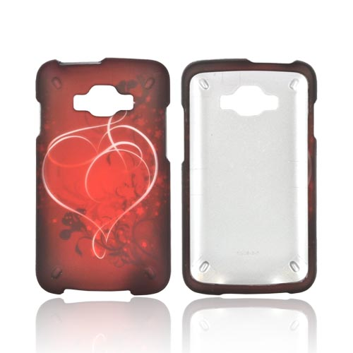 Samsung Rugby Smart i847 Rubberized Hard Case - Red Heart on Stars