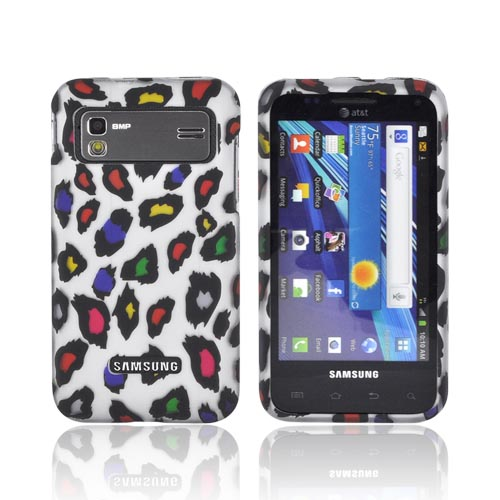 Samsung Captivate Glide i927 Rubberized Hard Case - Rainbow Leopard on Silver