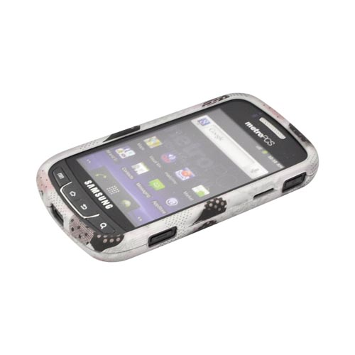 Samsung Rookie R720 Rubberized Hard Case - Pink/ Black Hearts on Gray