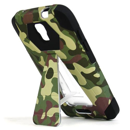 Alcatel OneTouch Elevate Case, [Green Camoflage] Rubberized Matte Plastic on Silicone Dual Layer Hybrid Case