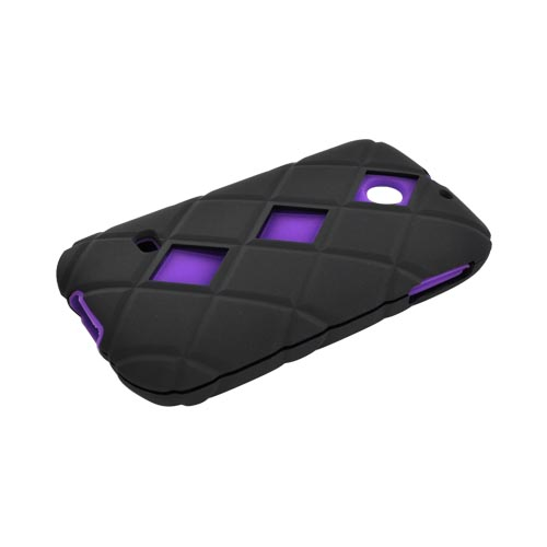 Huawei Ascend 2 M865 Hard Case w/ Silicone Case - Black/ Purple
