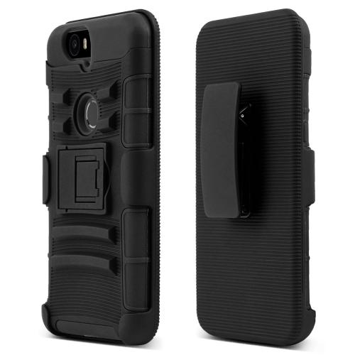 Huawei Google Nexus 6P Case, [Black]  Rubberized Matte Plastic on Silicone Dual Layer Hybrid Case