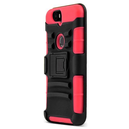 Huawei Google Nexus 6P Case, [Red]  Rubberized Matte Plastic on Silicone Dual Layer Hybrid Case