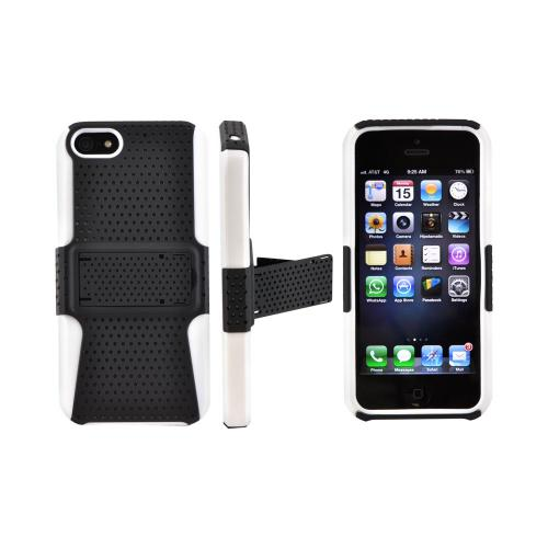 Made for Apple iPhone SE / 5 / 5S  Case,  [Black Mesh on White]  Rubberized Hard Case Over Silicone w/ Stand by Redshield